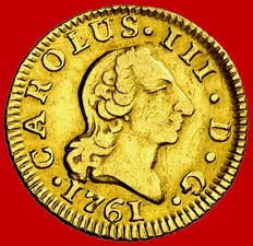 Spain – Carlos III (1759–1788) – Gold half escudo coin. Madrid, 1761. Scarce coin.
