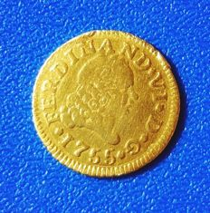 Spain – 1/2 escudo Fernando VI 1755 Madrid JB.