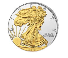 USA - $1 American Silver Eagle 2016 - 999 silver coin with 24 karat gold plating