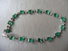 18k Gold Emerald and Diamond Tennis Bracelet