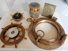 Beautiful Marine Set Large old bronze porthole possibly from a military ship  - Brass Sundial - Rudder Barometer - Compass - Rudder shaped ashtray - 20th century