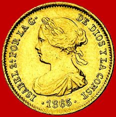 Spain – Isabel II (1833–1868) – 2 escudos gold coin – 1865 – Madrid