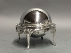 Silver plated caviar dish on twisted feet, England, ca 1900
