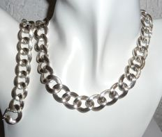 Solid set, 137 g, made from 835 silver, necklace and bracelet - 39.5 cm + 18.5 cm