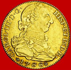 Spain – Carlos III (1759 - 1788), gold doubloon of 4 escudos. Madrid, 1788. M.