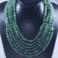 925/000 silver and jade necklace (1257 ct) with six strands of 8 mm – Length: 45-50 cm – No reserve