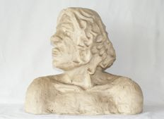Bust of a primeval man - Signed