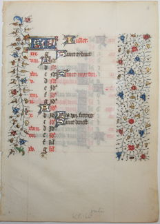"Manuscript; Original calendar leaf ""Iullet"" for the month of July, from a manuscript - 15th century"