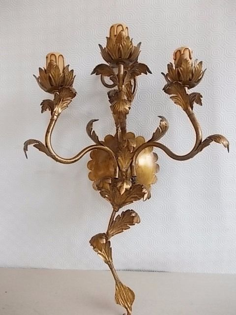Big old Golden candlestick wrought iron three lights turned electric Italian period 1950
