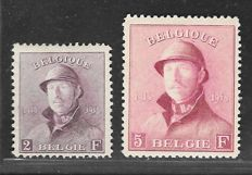 Belgium 1919 – King Albert I with helmet – OBP 176 and OBP 177.