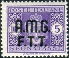 Trieste A, postage due with no watermark, Sassone 4A