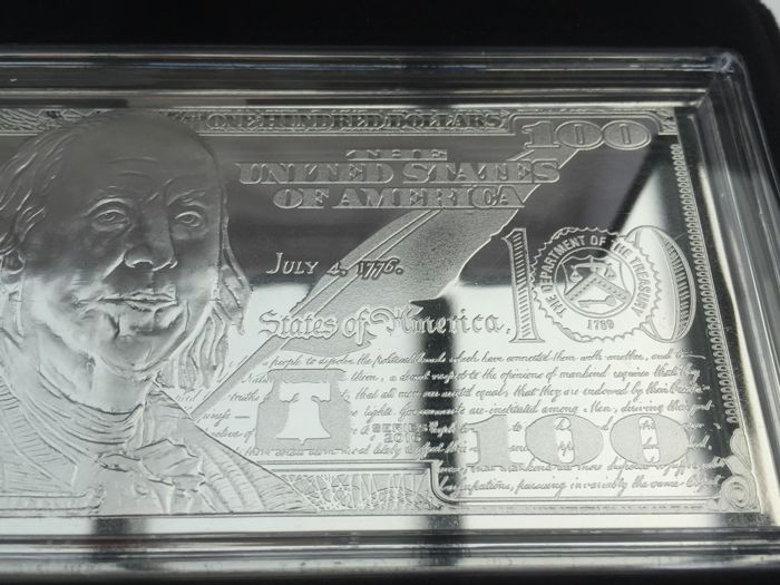 United States - $100 bill made of pure 999 silver, 4 oz 2017 with box and certificate