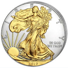 United States – 1 dollar 2017 'Silver Eagle' with 24kt gold plating – 1 oz silver
