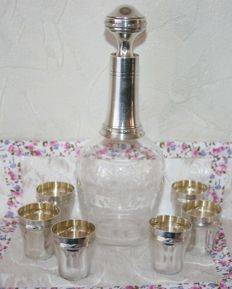 Antique cut crystal and silver decanter + 6 sterling silver glasses, Leclerc Aristid, Paris