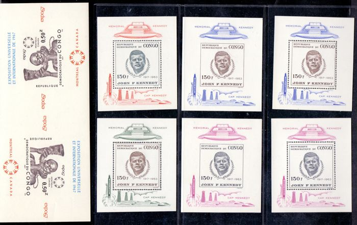 Kongo - Kinshasa 1966/1967 - Blocks JF Kennedy with wrong perforation and imperforate inverted block 'Montreal' - OBP / COB BL17/20 en OBP 615B-Cu