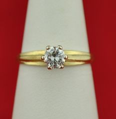 Solitaire Diamond set on 18karat Yellow Gold Engagement Ring - E.U Size 54/55 - Resizable