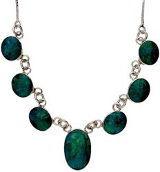 Fine Venetian link silver necklace set with 7 chrysocolla stones – length 45.5 cm