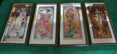 """The Four Seasons"", Alphonse Mucha (after) - Four wooden framed mirrors - France, mid 20th century"