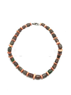 Pink Coral & Anyolite (Ruby in Zoisite) Necklace - 54 cm