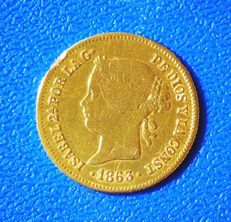 Spain - Isabel II - 1 Peso - Philippines - 1863.