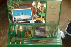 "BSF cutlery for 6 people gold-plated with hard wood handles plus serving pieces, ""Captain's Dinner"" - very elegant!"