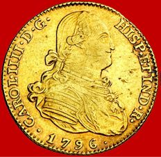 Spain – Carlos IV – 4 escudos gold coin – 1796 – Madrid MF