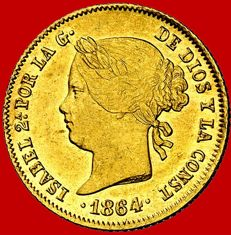 Spain – Isabel II (1833–1868), 4 pesos gold coin, Manila – 1864. Philippine Islands.