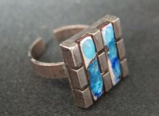 Silver designer ring with enamel from the seventies