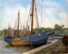 "C.J. (Kees) Laan (1902-1975) - ""Boot in haven"", chalk drawing"