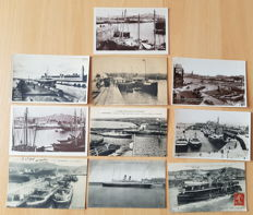 10 original postcards showing White Star Line tenders Nomadic, Traffic and Gallic at Cherbourg.