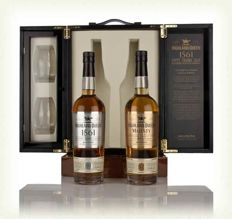 "2 bottles - 52 years & 50 years - ( Highland Queen ""The Century Edition ) "" limited edition- containing a 70cl bottle of 52 year old Highland single malt and a 70cl bottle of 50 year old blended Scotch whisky as well as 2x Highland Queen glasses in a very"