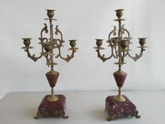 A pair of gilt bronze and red marble candelabras - Italy - ca. 1890