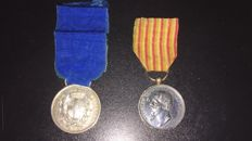 Silver Medal of military valour - Campaign of Lower Italy 1860 - 1861 + Medal for the independence wars and unification of Italy