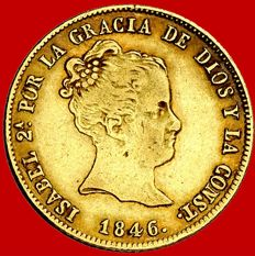 Spain – Isabel II (1833 - 1868), 80 reales gold coin Seville, 1846. Assayer RD.