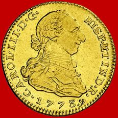 Spain – Carlos III (1759–1788) – 2 gold escudos. Madrid. 1773 PJ.