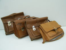 Lot with 4 Vintage leather school bags