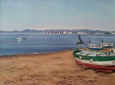 Joan Badia Trias (20th Century) - Vista de costa con Pesqueros.