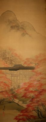 "Big scroll painting signed SHUHO ""Tsuten-Kyo bridge, Tofuku-ji Zen temple 東福寺 in autumn"" - Japan - late 19th century"