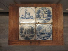 Wooden table with four biblical tiles from 1880