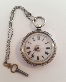 English key, cylinder pocket watch - around 1860-1880.