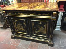 Sideboard with sécretaire, decorated with gold and silver Chinoiserie - Italy - 19th century