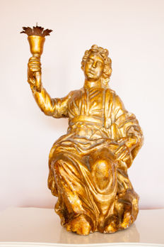 Large gilded oak angel - Italy - ca 1750