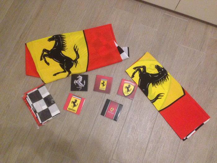 Ferrari, lot including no.5 ceramics + no. 3 original flags
