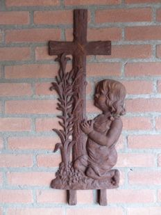 Antique Ornament - Kneeling girl at Cross - cast iron