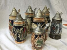 Seven beer mugs - hand-made - Origin Germany - Austria - Second half 20th century.