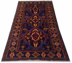 Semi Antique Afghan Hand Knotted Balouch Herati Area Rug 194 cm x 102 cm