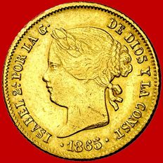 Spain – Isabel II (1833–1868), 4 pesos gold coin, Manila – 1865. Philippine Islands.