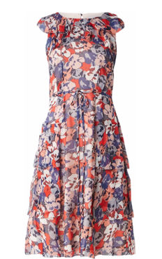 L. K. Bennett, layered Kayla dress made of silk with a floral pattern
