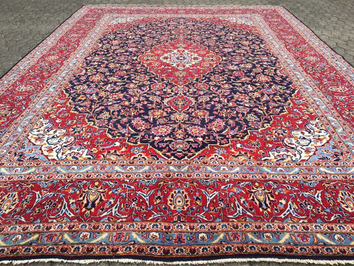 Magnificent Persian BLUE KASHAN - approx. 400 x 295 cm - oriental carpet - clean - very good condition