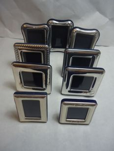 Nine silver plated frames